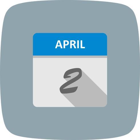 2 de abril Fecha en un calendario de un solo día