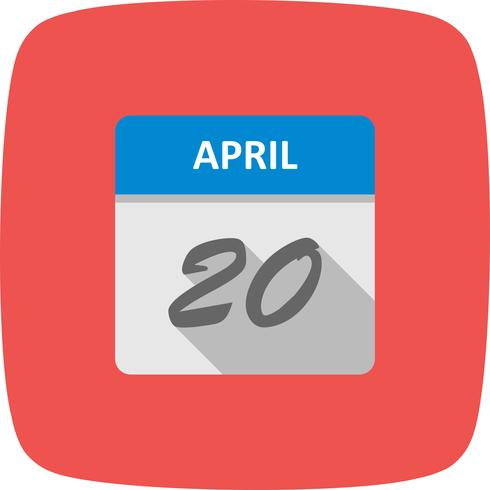 April 20th Date on a Single Day Calendar