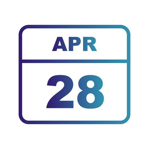 April 28th Date on a Single Day Calendar