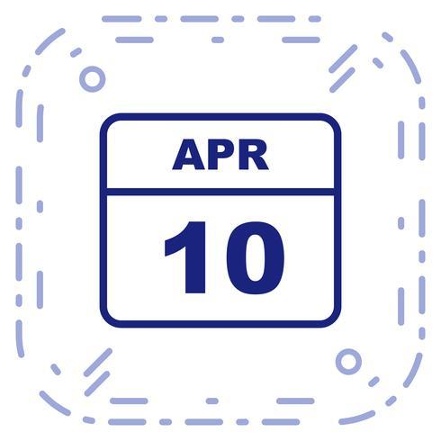 10 de abril, fecha en un calendario de un solo día