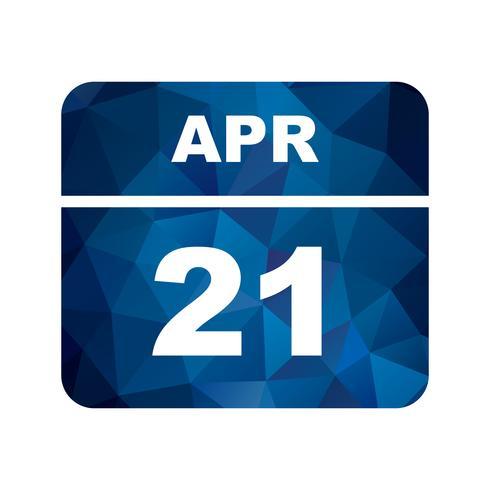 Fecha del 21 de abril en un calendario de un solo día vector