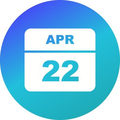 22 de abril Fecha en un calendario de un solo día vector