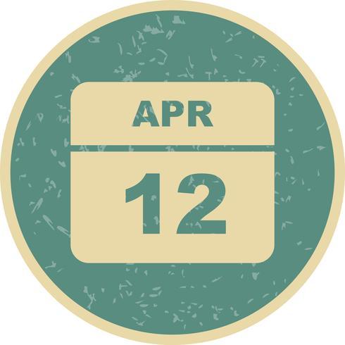 12 avril Calendrier d'une journée vecteur