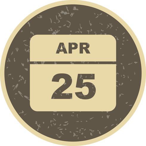 25 april Datum op een eendaagse kalender