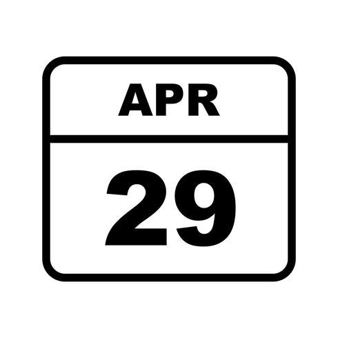 29 april Datum op een eendaagse kalender
