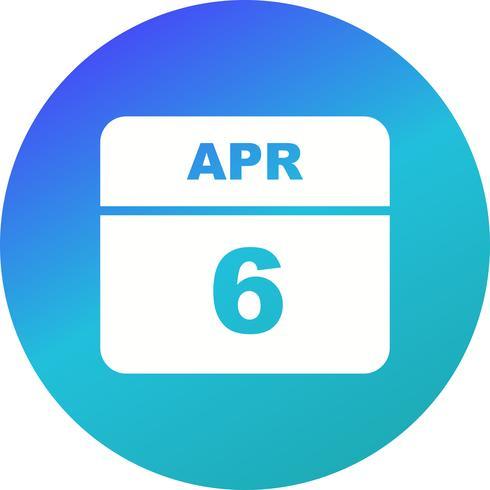6 de abril, fecha en un calendario de un solo día vector