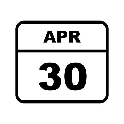 30 de abril Fecha en un calendario de un solo día