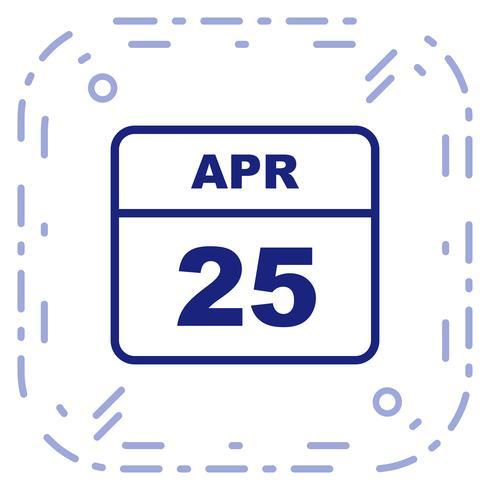 25 aprile Data su un calendario per un solo giorno