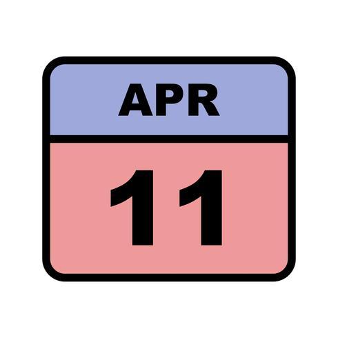 11 april Datum op een eendaagse kalender