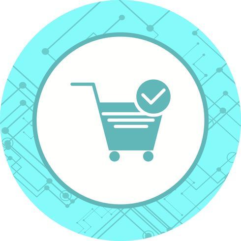 ontwerp van het pictogram van geverifieerde winkelwagen-items vector