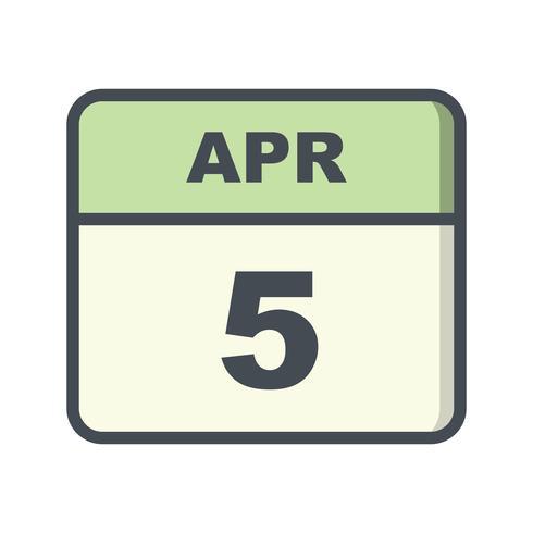 5 de abril Fecha en un calendario de un solo día vector