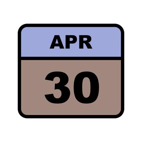 30 aprile Data su un calendario per un solo giorno
