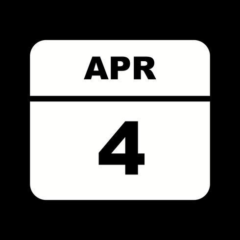 4 aprile Data su un calendario per un solo giorno vettore