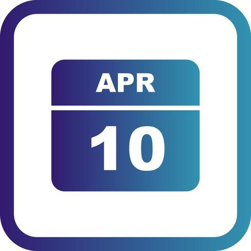 10 de abril, fecha en un calendario de un solo día vector