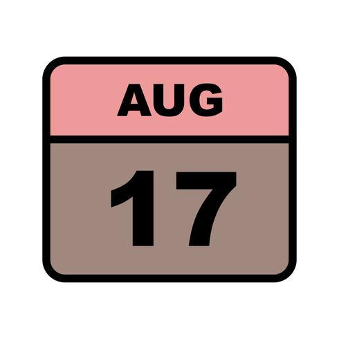 17 de agosto, fecha en un calendario de un solo día vector