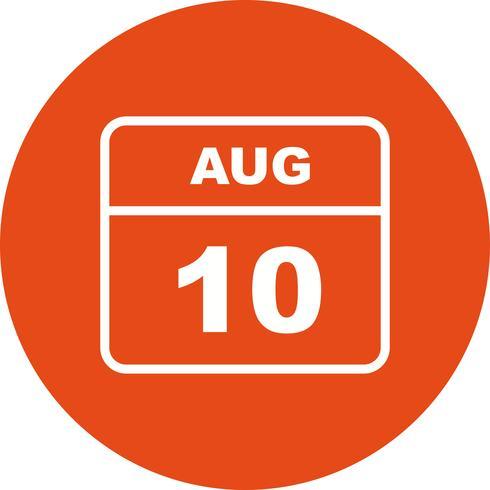10 de agosto Fecha en un calendario de un solo día
