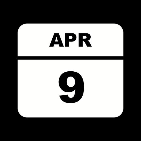 April 9th Date on a Single Day Calendar vector
