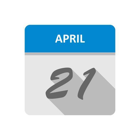 21 aprile Data su un calendario per un solo giorno