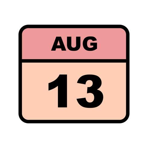 13 de agosto, fecha en un calendario de un solo día vector