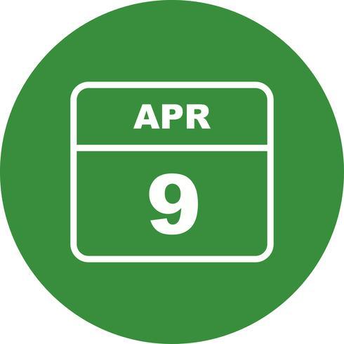 9 aprile Data su un calendario per un solo giorno vettore