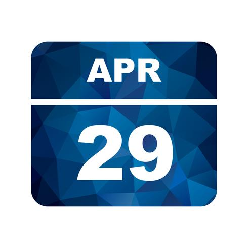 April 29th Date on a Single Day Calendar vector