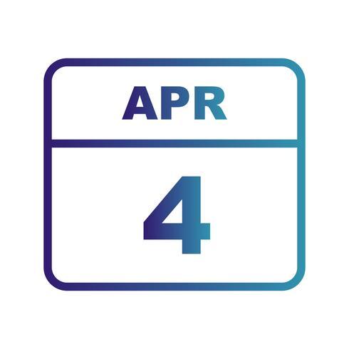 4 avril Date sur un calendrier d'une journée