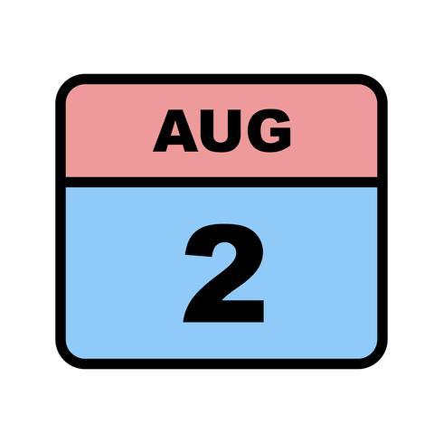 2 agosto Data in un giorno unico calendario vettore