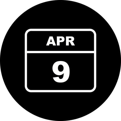 April 9th Date on a Single Day Calendar vector