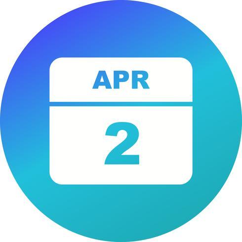 Data de 2 de abril em um calendário de dia único
