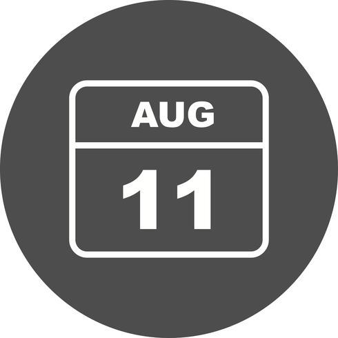 11. August Datum an einem Tagkalender vektor