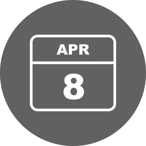 8 de abril Data em um calendário de dia único