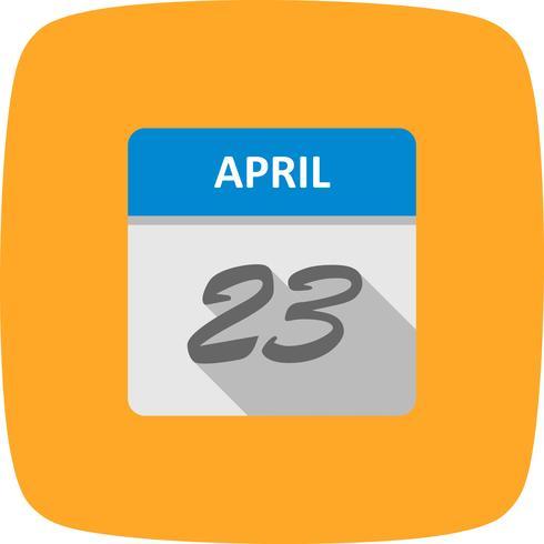 23 aprile Data su un calendario per un solo giorno