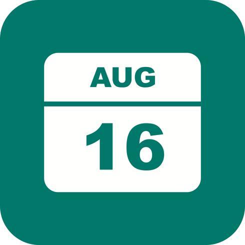 16 de agosto, fecha en un calendario de un solo día vector