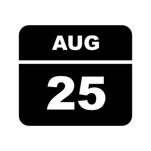 25 augustus Datum op een dagkalender vector