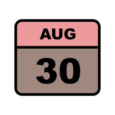 30 de agosto, fecha en un calendario de un solo día vector
