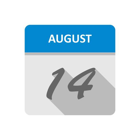 14 de agosto Data em um calendário único dia vetor