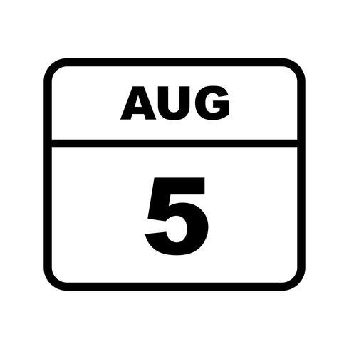 5 augusti Datum på en dagskalender vektor