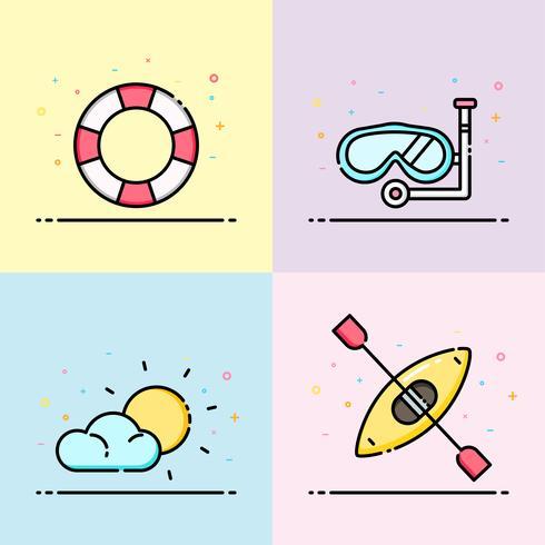Coleção de ícone de verão em cor pastel. O conjunto contém anel de vida, snorkel, sol e barco de caiaque para banner de mídia social, cartaz de verão e design do ícone do app.