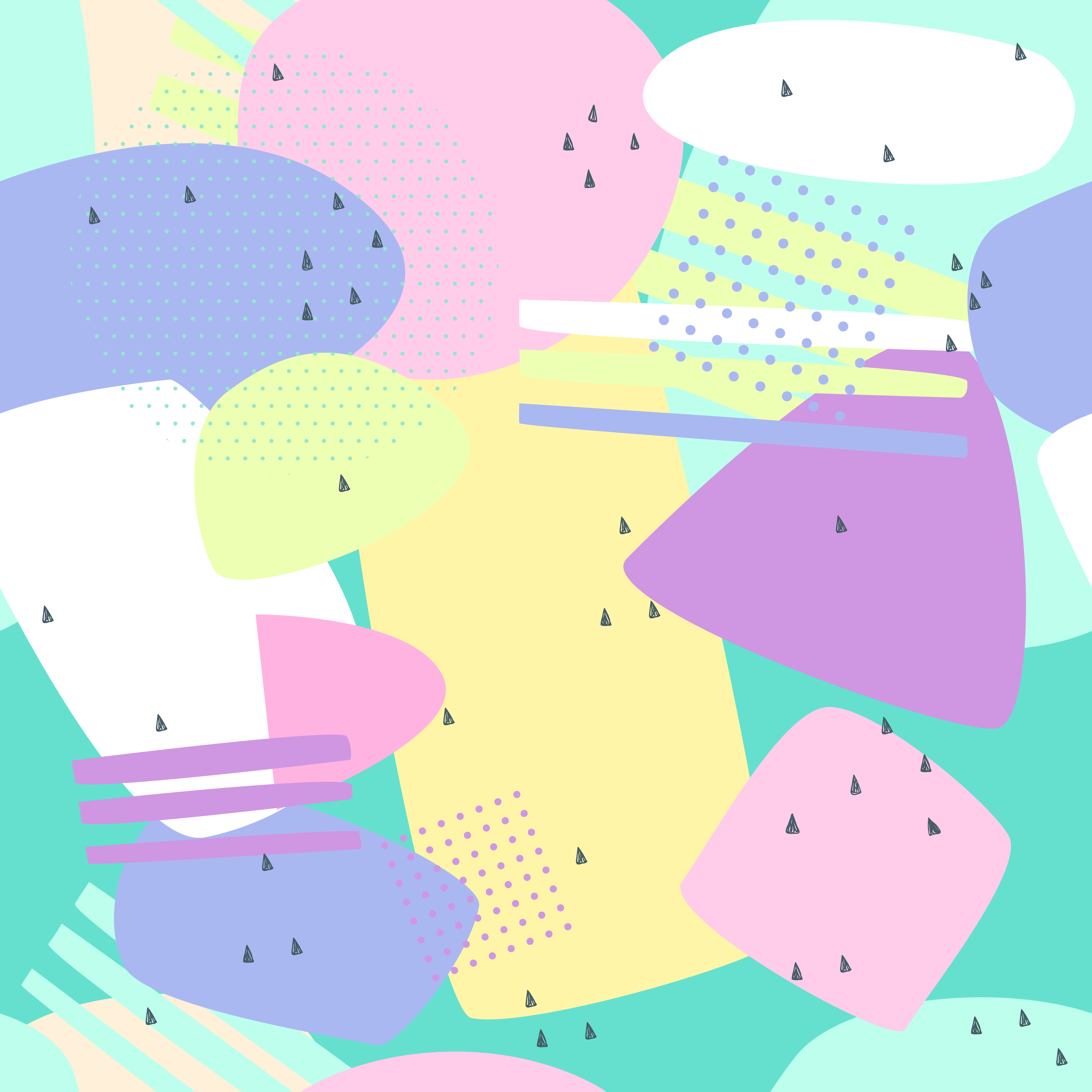 Vector Illustration Web Designs: Memphis Seamless Patterns. Abstract Background Pastel For