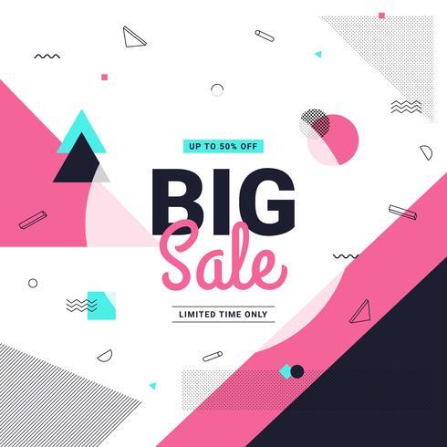 Gran venta banner estilo Memphis con formas geométricas. Plantilla de fondo de venta. Ilustración vectorial