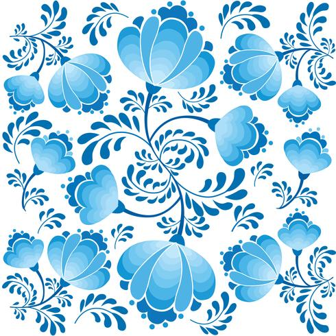 Swirl floral seamless pattern. Ornamental background in russian style