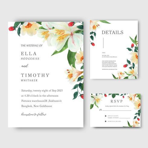 lilly, rosa, tarjeta de invitación de ramos de flores de magnolia, guardar la fecha, diseño de tarjetas de invitación de boda. Ilustración vectorial vector