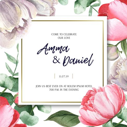 Pink Peony blooming flower botanical watercolor wedding cards floral aquarelle isolated on white background. Design decor invitation card, save the date, wedding invitation celebrate marriage illustration vector