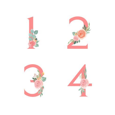 Rosa alfabetet florals uppsättning, persika och apelsinpionblommor buketter vintage, Design för bröllopsinbjudan, fira äktenskap, Tack kort dekoration vektor illustration.