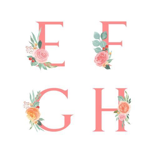 Roze alfabet florals set collectie, perzik en oranje pioen bloemen boeketten vintage, ontwerp voor bruiloft uitnodiging, vieren huwelijk, Bedankt kaart decoratie vectorillustratie.