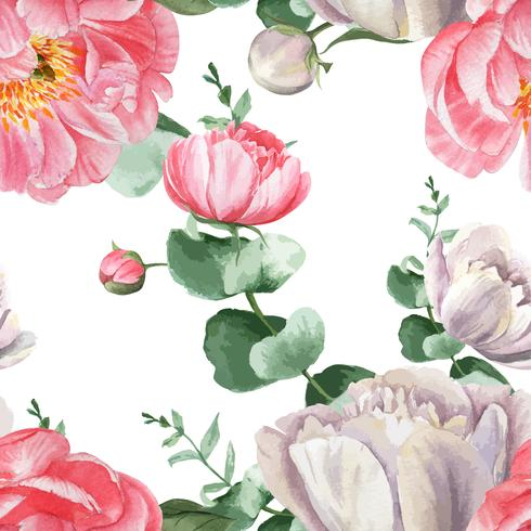 Peony flowers watercolo Pattern seamless floral botanical watercolour style vintage textile, aquarelle blossom design decor invitation card vector illustration.