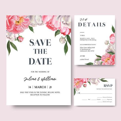 De roze Pioen bloeit de kaart van de waterverfboeketten uitnodiging, sparen de datum, de kaartenontwerp van de huwelijksuitnodiging. Illustratie vector