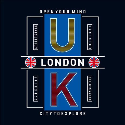 Vlag van Londen en citaat vector ontwerp tee voor t-shirt