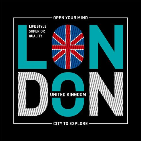 London Typografie Design T-Shirt mit Grafikdruck