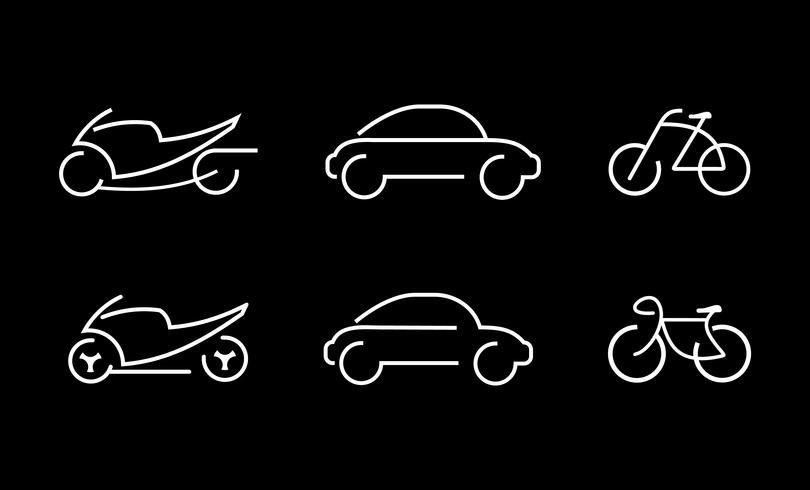 Voiture, vélo et moto - icônes vectorielles